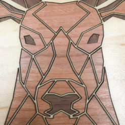 tableau animaux géométriques cerf érable gros plan