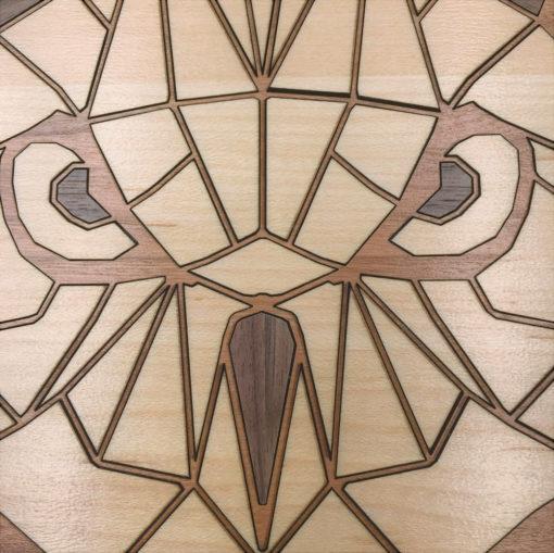 tableau animaux géométriques chouette cerisier gros plan