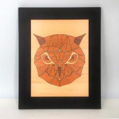 tableau animaux géométriques chouette érable