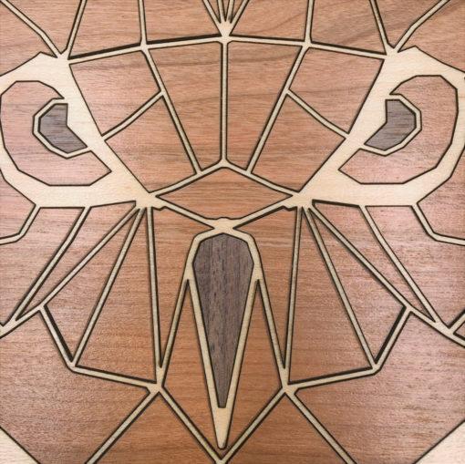 tableau animaux géométriques chouette érable gros plan