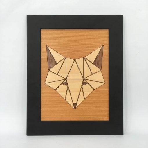 tableau animaux géométrik renard cèdre
