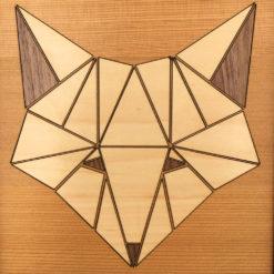 tableau animaux géométrik renard cèdre gros plan
