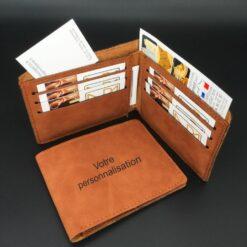 porte carte de crédit aspect cuir beige