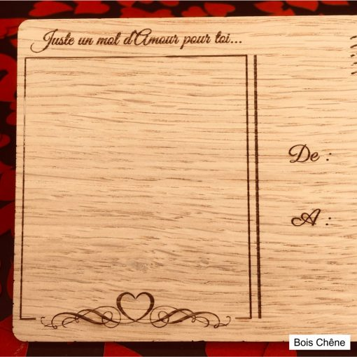 carte postale bois amour verso chêne