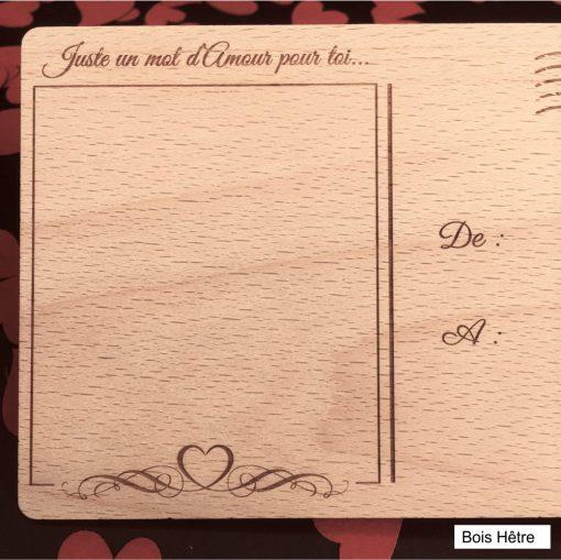 carte postale bois amour verso hêtre