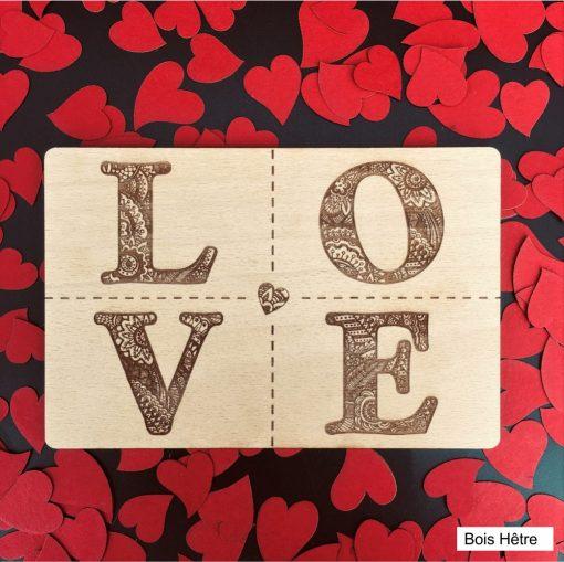 carte postale bois love hêtre