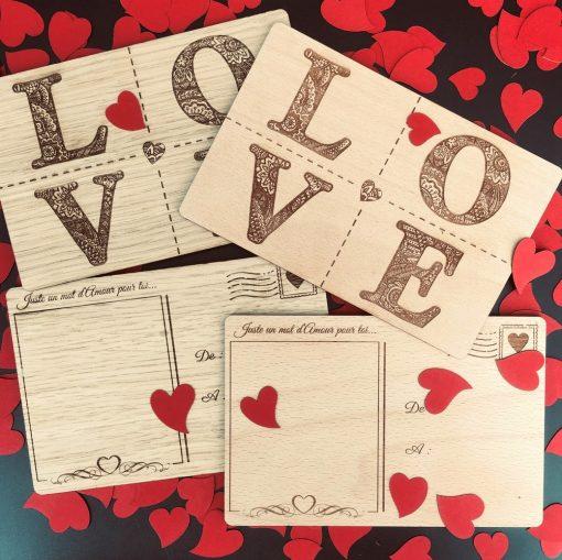 carte postale bois love ensemble