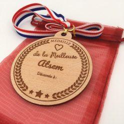 médaille bois personnalisable atsem hêtre