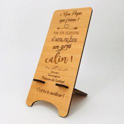 support téléphone bois personnalisable cèdre