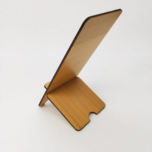 support téléphone bois personnalisable cèdre profil