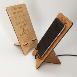 support téléphone bois personnalisable