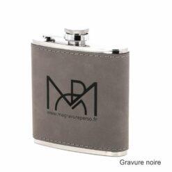flasque cuir gris