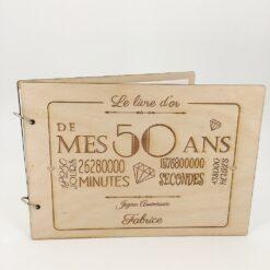 livre d'or en bois personnalisable 50 ans zoom
