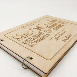 livre d'or en bois personnalisable 50 ans profil