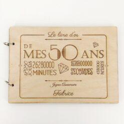livre d'or en bois personnalisable 50 ans face