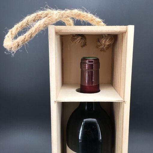 coffret bois bouteille - vin intérieur zoom