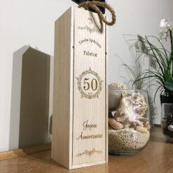 coffret bouteille bois personnalisable anniversaire