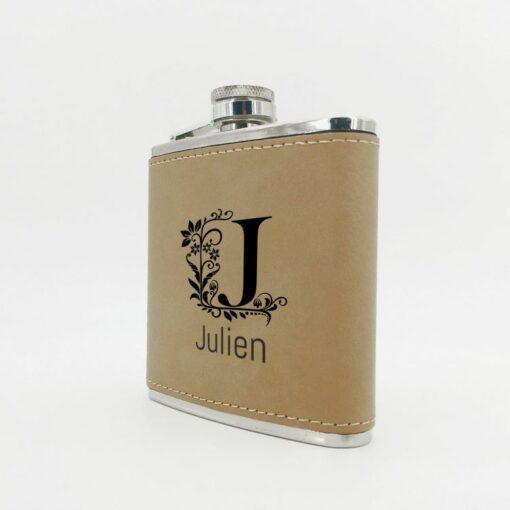 flasque personnalisable cuir beige profil