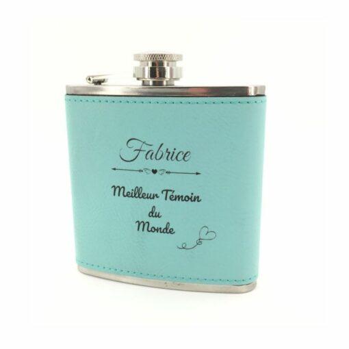 flasque personnalisable cuir bleu