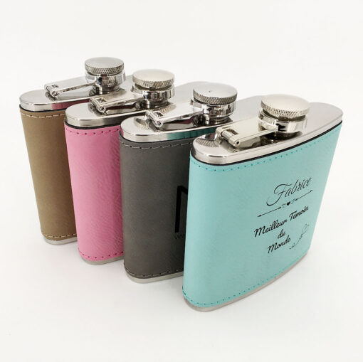 flasque personnalisable cuir ensemble bloc