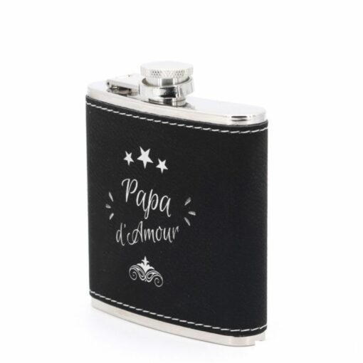 flasque personnalisable cuir noir