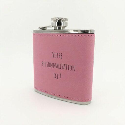 flasque personnalisable cuir rose