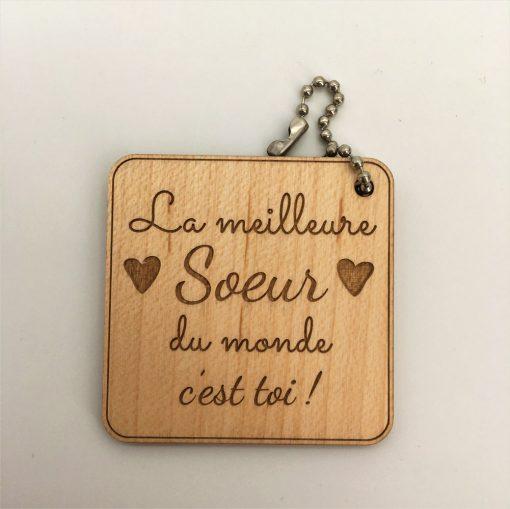 porte-clés bois Meilleure Soeur érable carré