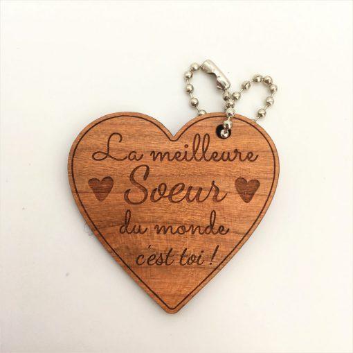porte-clés bois Meilleure Soeur cerisier coeur