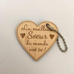 porte-clés bois Meilleure Soeur érable coeur