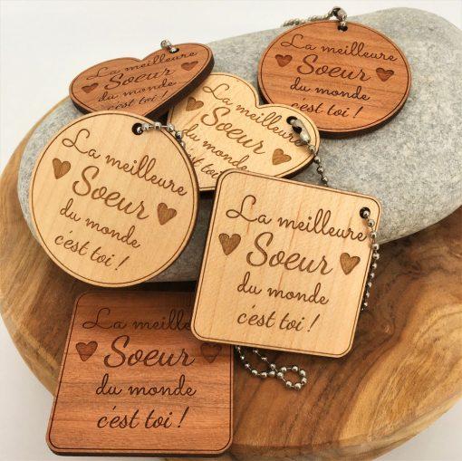 porte-clés bois Meilleure Soeur ensemble