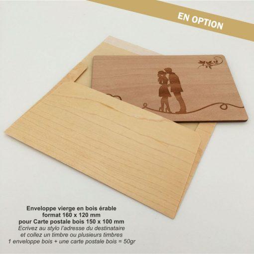 enveloppe bois et carte postale bois