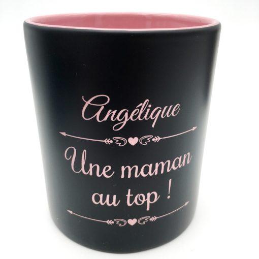 mug céramique noir rose