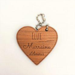 Porte-clés bois marraine d'amour cerisier