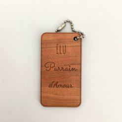Porte-clés bois parrain d'amour cerisier
