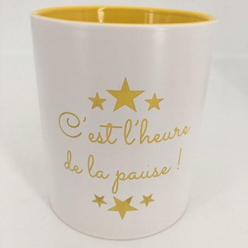 mug céramique blanc jaune