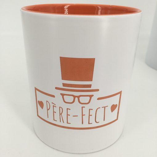 mug céramique blanc orange