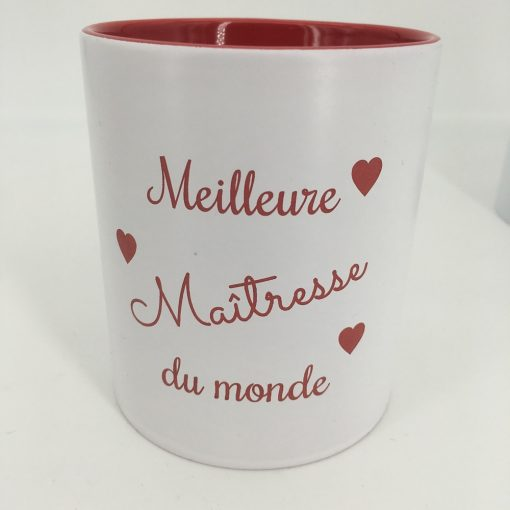 mug céramique blanc rouge