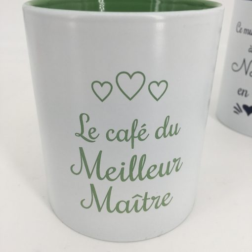 mug céramique blanc vert
