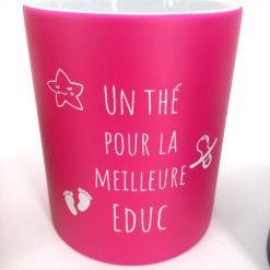 mug céramique rose blanc