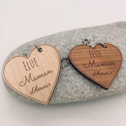 porte clés bois maman d'amour cerisier érable
